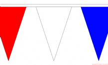 RED WHITE & BLUE TRIANGULAR BUNTING - 20 METRES 54 FLAGS